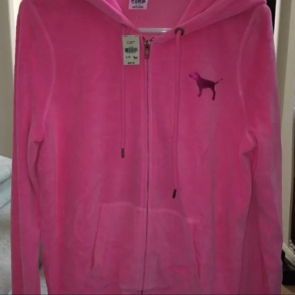 "VICTORIAS SECRET PINK VELOUR /""PINK/"" FULL ZIP HOODIE NWT"